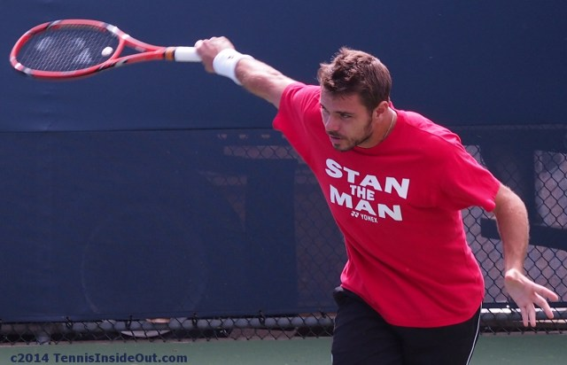 Stanislas Stan the Man Wawrinka shirt backhand slice Cincinnati practice