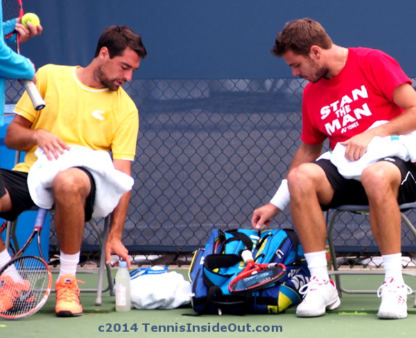 Jeremy Chardy Stan Wawrinka looking in tennis bags cute photo Cincinnati Open practice