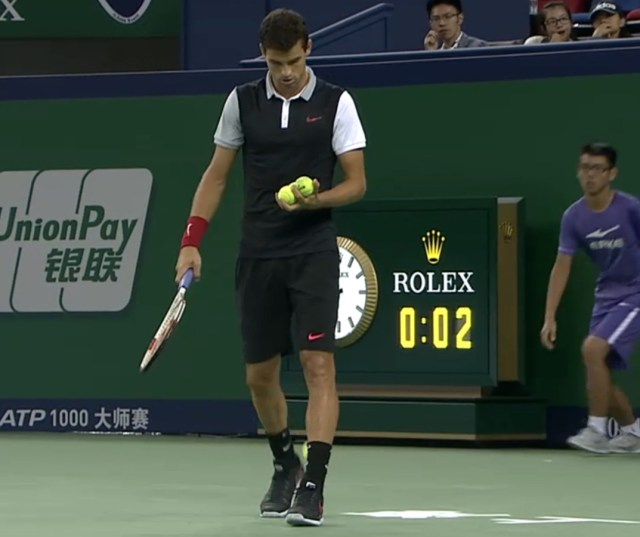 Grigor Dimitrov Shanghai Istomin match black white shirt kit faux fake sweater vest black shorts socks Nike tennis balls red wristband photos pictures screencaps images