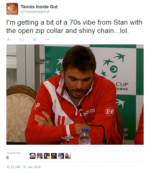Stan Wawrinka gold chain Davis Cup Switzerland jacket open collar photos pics sexy
