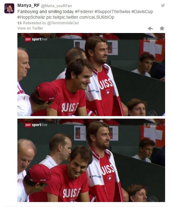 Roger Federer Michael Lammer cheering supporting Wawrinka Chiudinelli DC