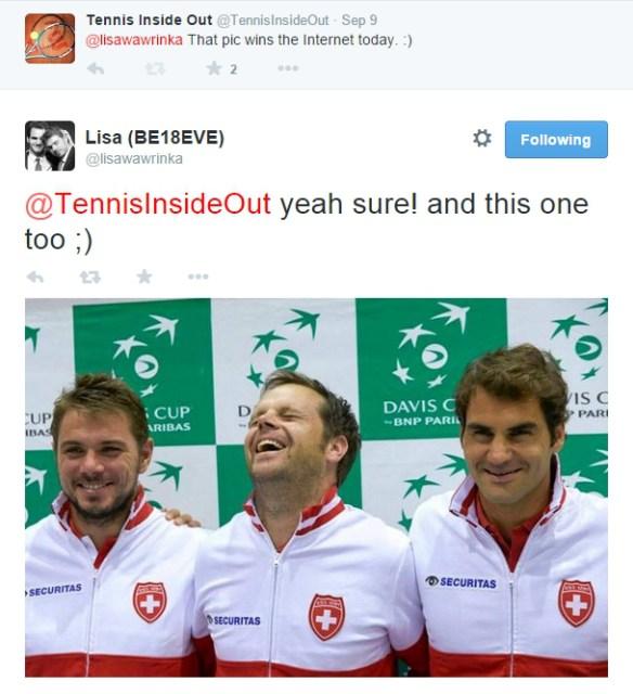 Wawrinka Luthi Federer laughs Davis Cup 2014