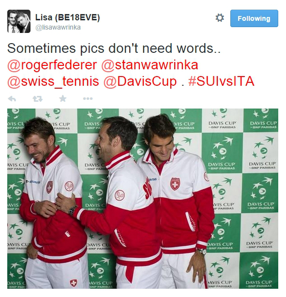 Best pic gorgeous Stan Seve Roger giggle fest Davis Cup 2014 Italy Geneva photos