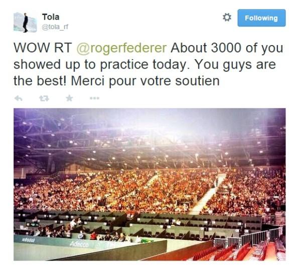 Davis Cup huge crowd turnout for practice Federer Wawrinka Geneva Switzerland Italy pics