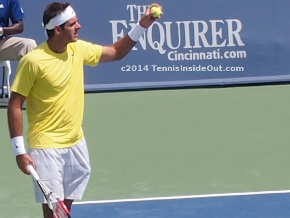 Juan Martin Del Potro tennis ball yellow shirt white gray plaid shorts pics