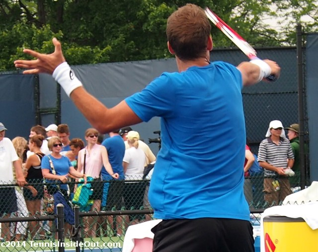 Cincinnati tennis sweaty Vasek Pospisil back muscles volley practice