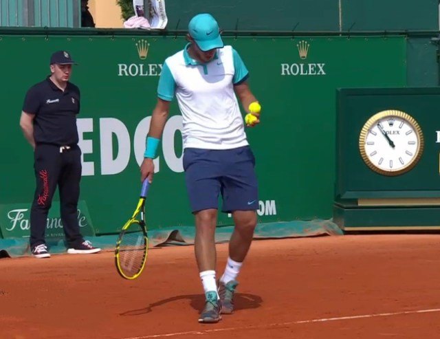 Lucas Pouille white teal Nike polo navy shorts pics photos images Monte Carlo 2015