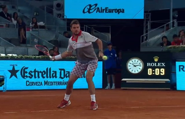 Stan Wawrinka lining up forehand bright lights at Mutua Madrid Open 2015 Masters