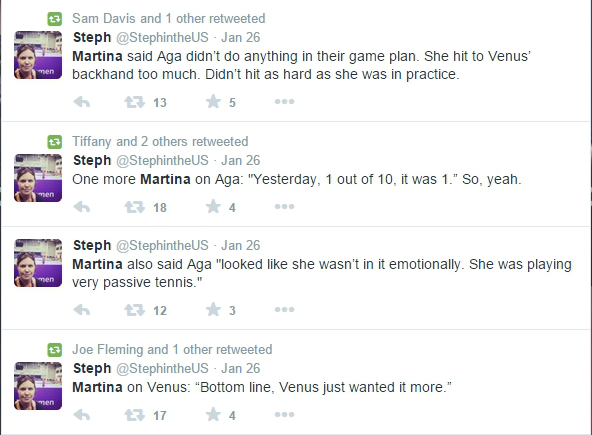 Tweets from Martina about Aga 2015 AO
