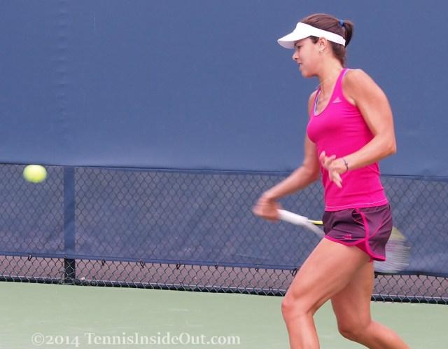 Ana lining up the forehand hot pink Cincinnati