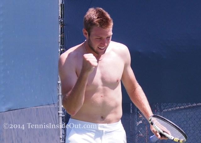Jack Sock fist pump shirtless pecs abs Cincy tennis racquet practice pics photos 2015