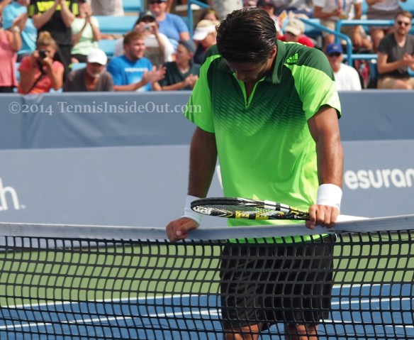 Fernando Verdasco waiting at net Granollers match Cincinnati 2014 pics