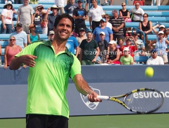 Smiling Verdasco hits autographed ball into crowd