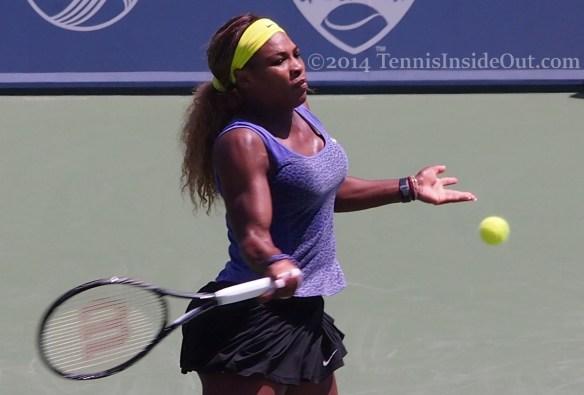 Serena Williams big forehand tennis ball yellow headband leopard print kit