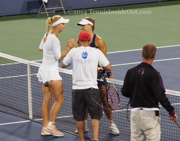 Caroline Wozniacki Angelique Kerber grins handshake at net white shorts visors photos pics Cincinnati 2014