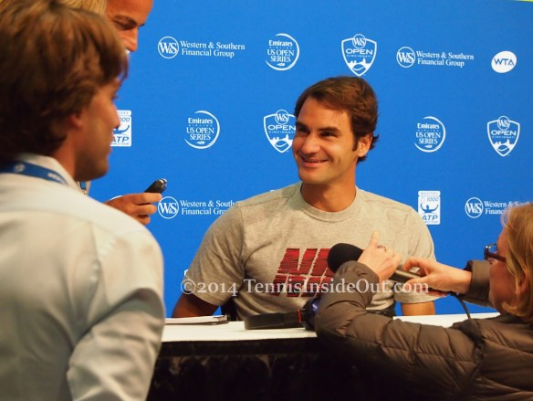 Goofy smile Federer French Swiss press Cincinnati Western and Southern Open pics