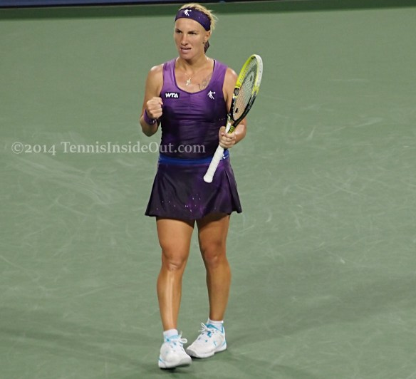 Triumphant Svetlana Kuznetsova fist pump Cincy tennis 2014