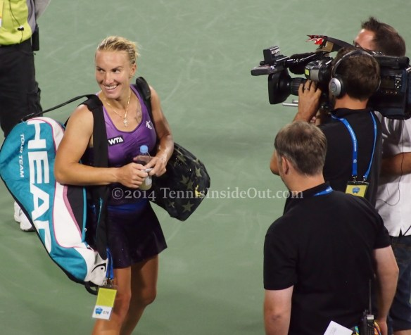 Svetlana Kuznetsova Bouchard win arched eyebrows wicked grin photos Cincinnati 2014 pics