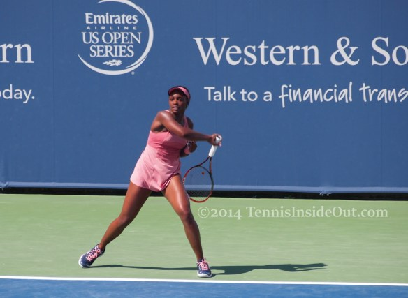 Western and Southern Open Cincinnati premier tennis pink Under Armor dress racquet forehand swing pink shoes Sloane Stephens pics