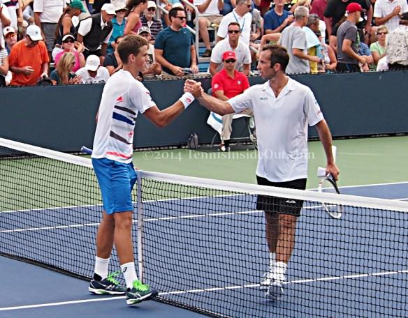 Vasek Pospisil Radek Stepanek handshake at net Cincinnati Western and Southern Open photos