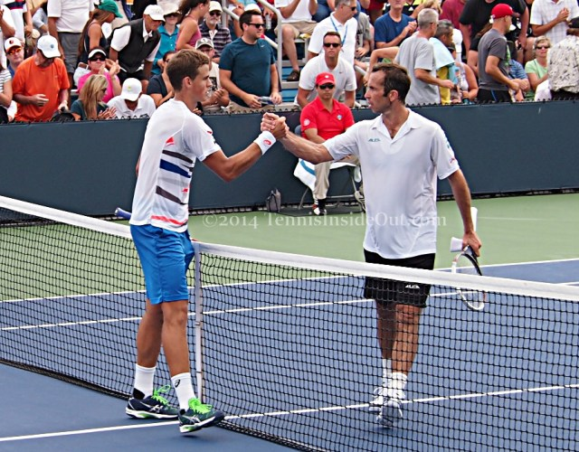 Vasek Pospisil Radek Stepanek handshake at net Cincinnati Western and Southern Open photos