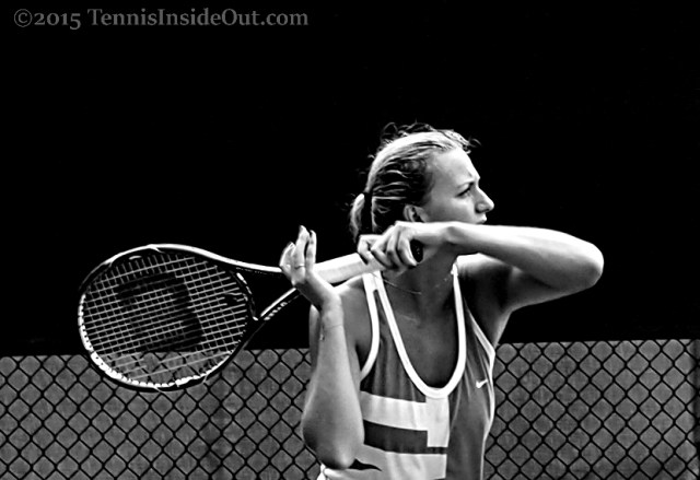 Western and Southern Open 2015 Petra Kvitova practice forehand follow through black and white photos pics