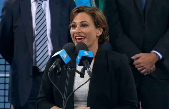 Happy Jackie Trad Brisbane tennis speech pics photos images screencaps