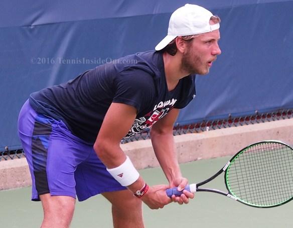 Beautiful blue eyes return of serve Lucas Pouille Cincinnati tennis practice 2016