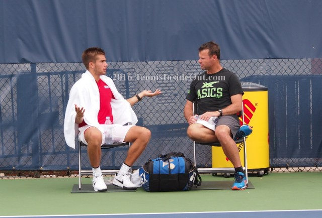 Borna Coric animated discussion with coach Cincy practice with Grisha