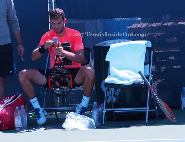 Dimitrov racquet handle tape Cincinnati Masters practice shots