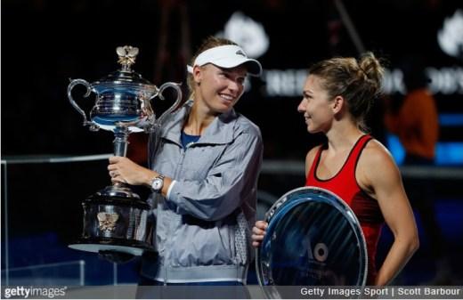 Caroline Wozniacki Australian Open 2018 champion Simona Halep AO runner-up trophy ceremony WTA tennis