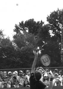 Roger Federer high ball toss arching service motion black and white photos by Valerie David Wilson racquet August 2013
