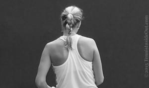 Petra Kvitova shoulders racer back top blonde ginger braid black white photos Cincy premier tennis