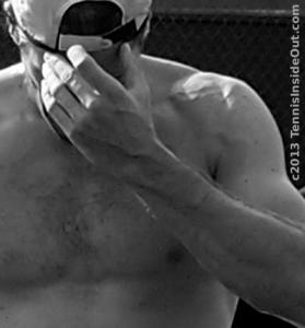 Haas topless gorgeous hand over face backwards hat Cincy 2013 practice photos pictures images