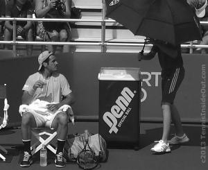 Black and white photo series Beauty of Tennis by Valerie David Tommy Haas changeover umbrella cute pics