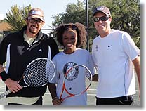 Rick Leach with John Newcombe Tennis Ranch pros John and Bettine
