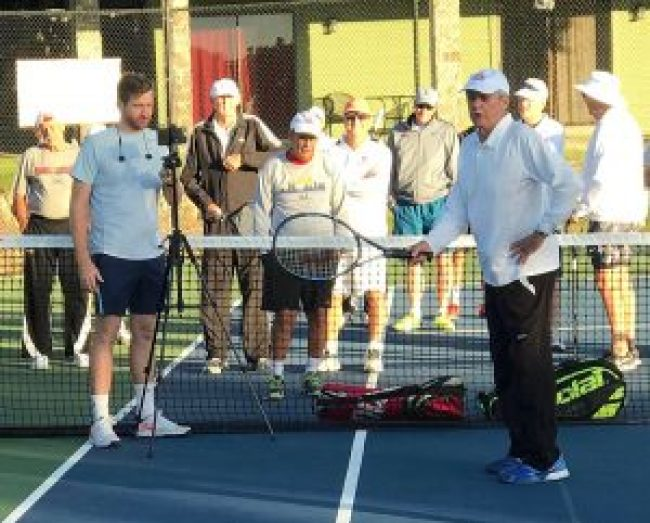 Tennis Legend Roy Emerson gives a volley clinics during Legends Fantasy Week