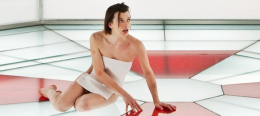 Milla Jovovich, always progressive with here on-screen wardobe dons two paper towels in Resident Evil: Retribution.