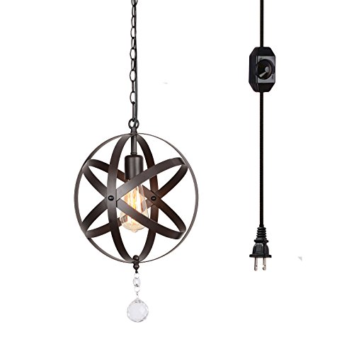 HMVPL Plug-in Industrial Globe Pendant Lights with 16.4 Ft