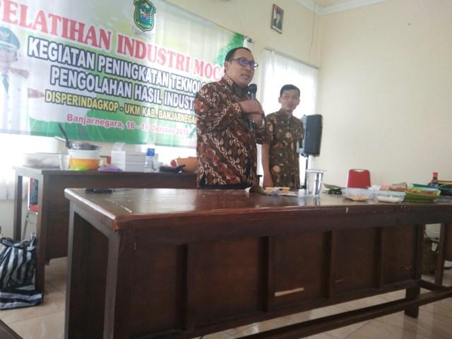 sambutan ketua BI Purwokerto dalam kegiatan Pelatihan Industri Mocaf Disperindagkop-UKM