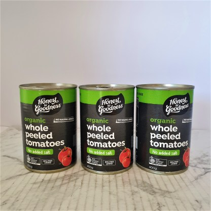Three tins of unopened, whole peeled tomatoes
