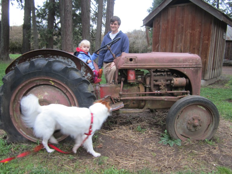 Kids love the tractor at Eugene, Oregon's Dorris Ranch - a great place for family hikes. Ten Thousand Hour Mama