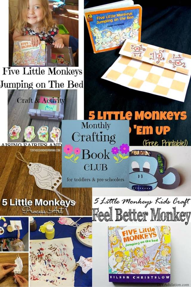 Monthly Crafting Book Club 5 Little Monkeys