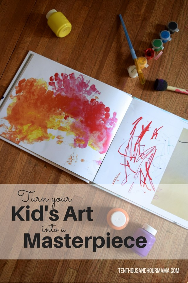 Unclutter your kid's art by turning it into a masterpiece! Ten Thousand Hour Mama