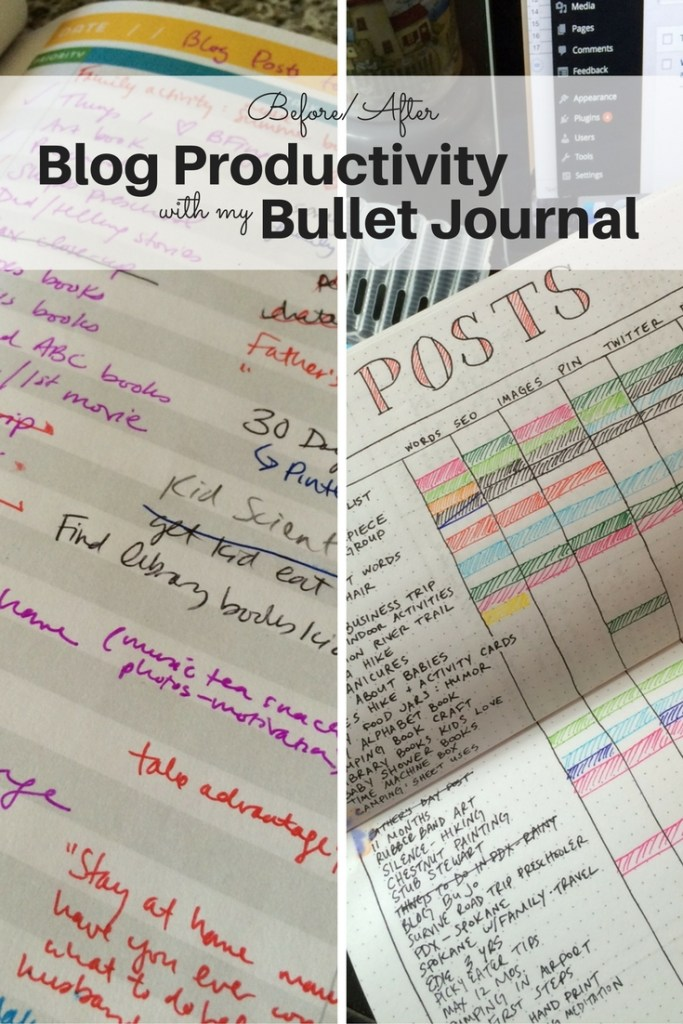 My blog productivity, before and after organization with a bullet journal spread: No comparison! Ten Thousand Hour Mama