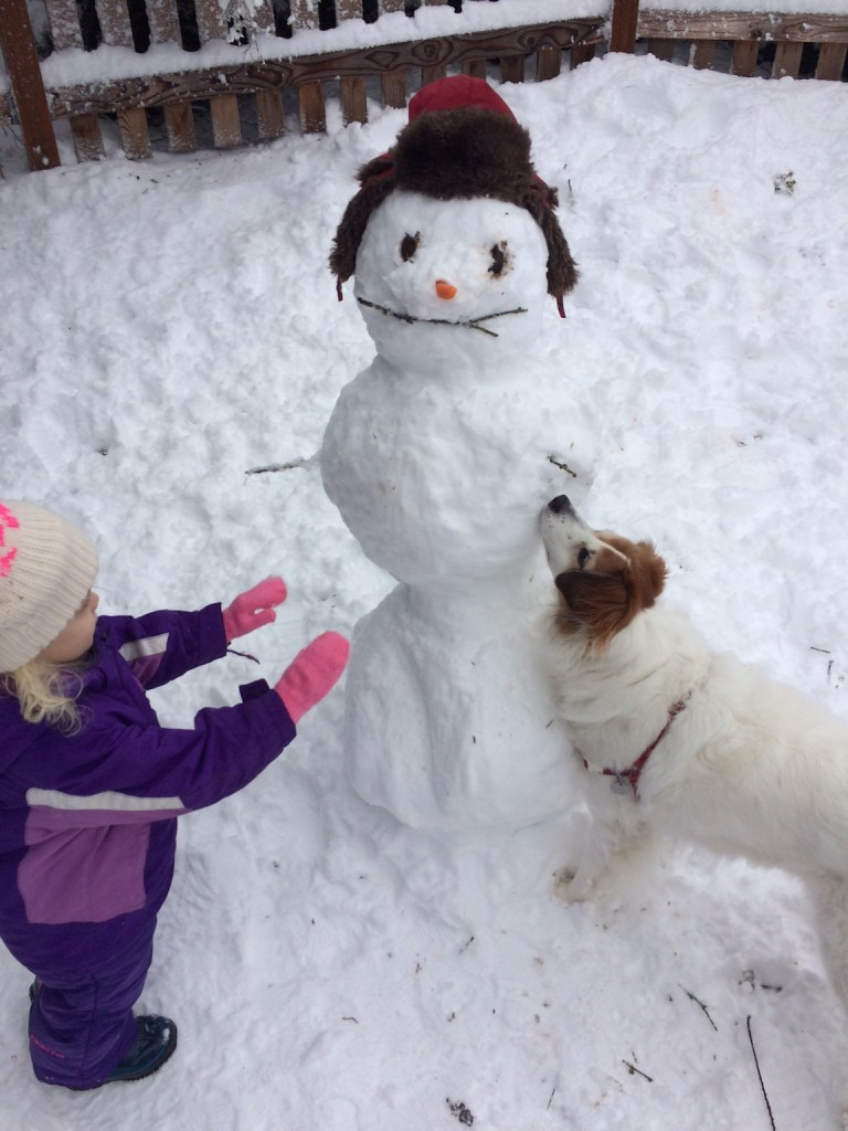 My daughter's first snowman - Ten Thousand Hour Mama