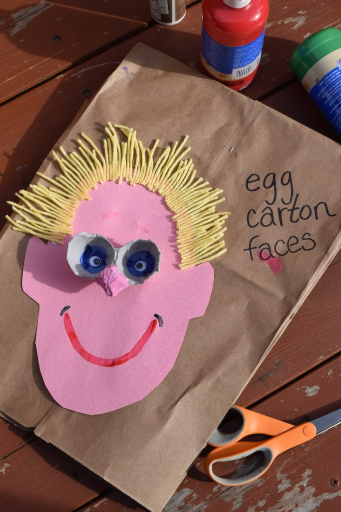 Upcycled kid art // Egg carton faces // Recycling project // Ten Thousand Hour Mama