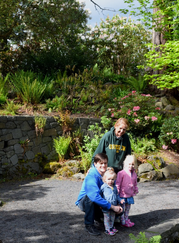 Family kids travel Portland Oregon rhododendron garden hike