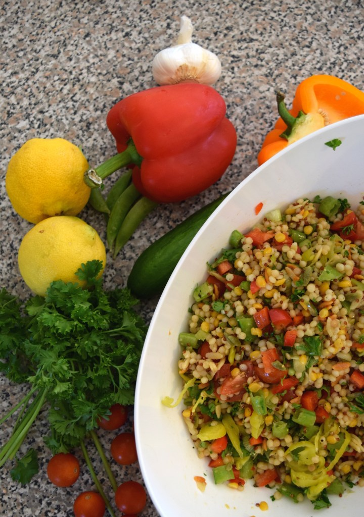 This lemony grain salad is an easy, healthy side dish to bring to a BBQ this summer! can also be made gluten-free. Ten Thousand Hour Mama