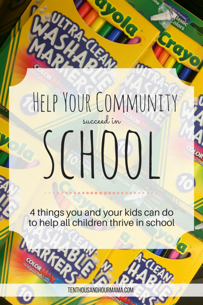 Your kids may be too young to volunteer, but any family can do good in their community by helping all children thrive in this back to school season. Here, 4 things you can do to help! Ten Thousand Hour Mama